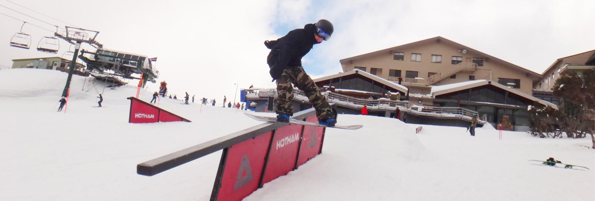 snowboarding a rail mt hotham
